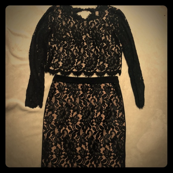 bebe Dresses & Skirts - Laced Bebe top and matching skirt